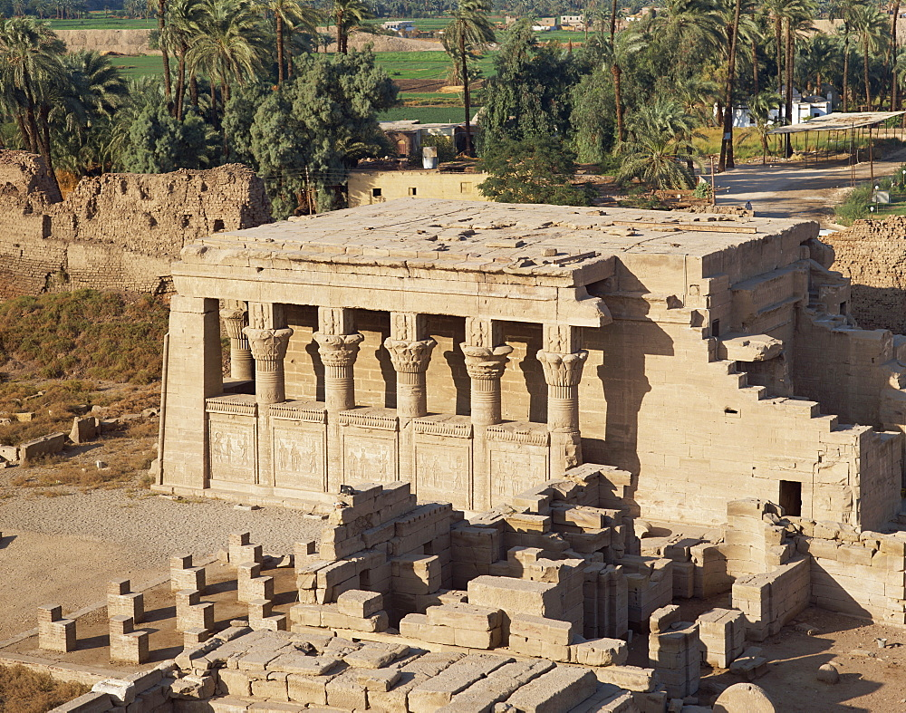 Aerial view over the Birth House and the Coptic Church, at the Temple of Hathor, Dendera, Egypt, North Africa, Africa