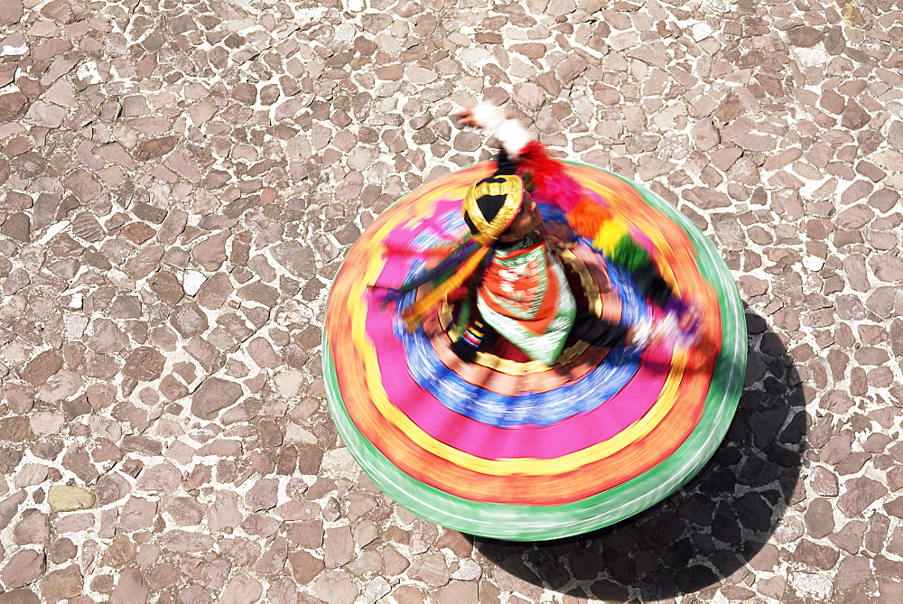 Overhead view of a Mestiza Cuzquena dancer in motion, Cuzco (Cusco), Peru, South America - 252-10468