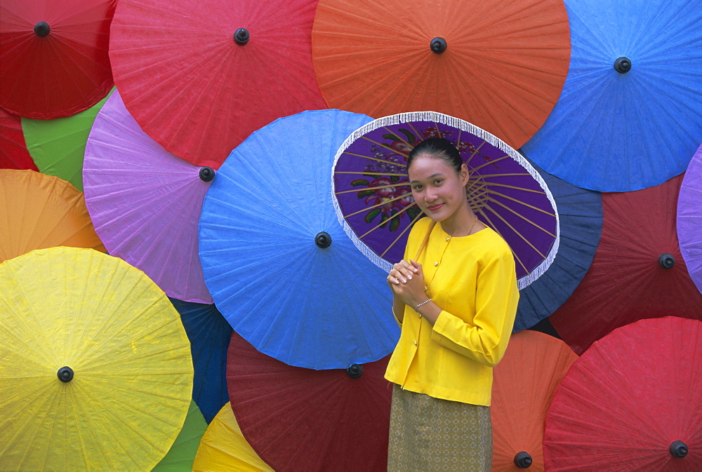 Portrait of a young woman, Bo Sang umbrella village, Chiang Mai, northern Thailand, Asia - 252-9985