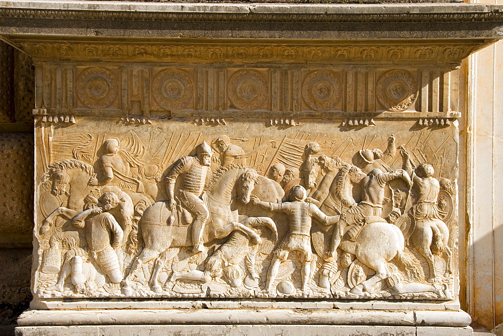 Bas relief by Juan de Orea, from a design by Pedro Machuca, Charles V Palace, Alhambra, UNESCO World Heritage Site, Granada, Andalucia, Spain, Europe - 253-3635