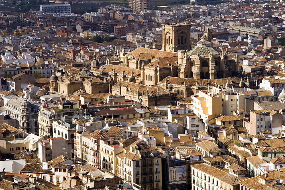 View of city showing the cathedral, from the watch tower of the Alcazaba, Granada, Andalucia, Spain, Europe - 253-3640