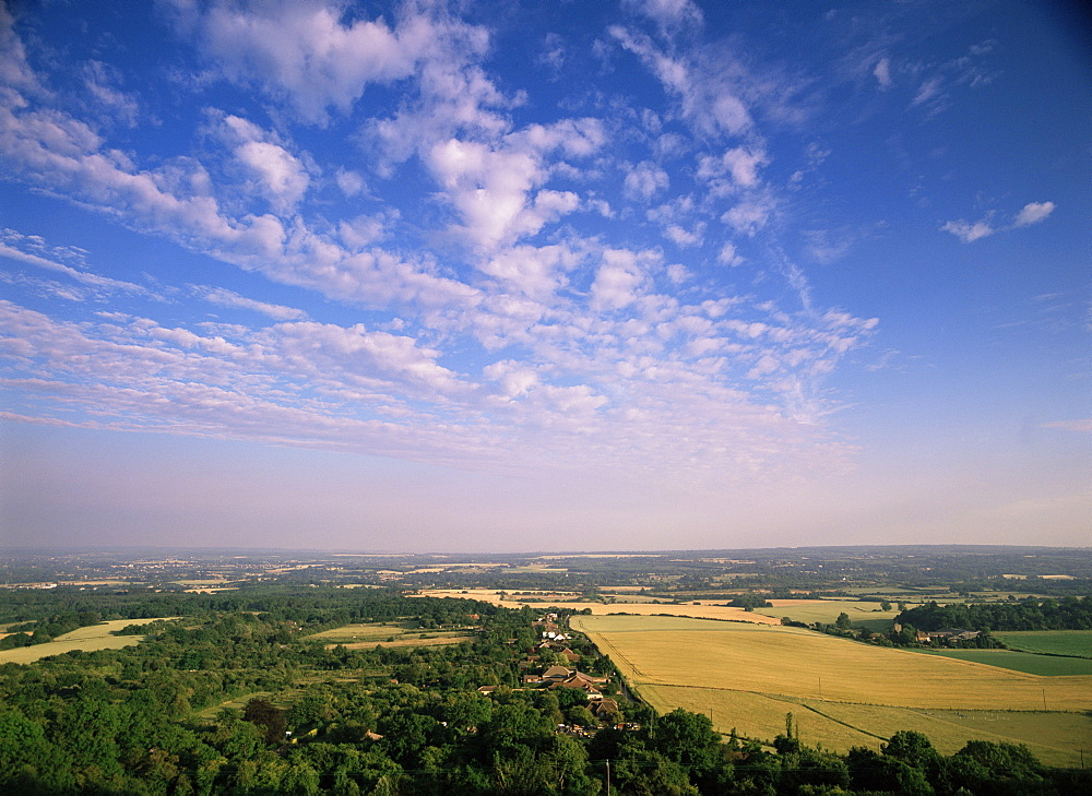 View from Whitehorse Hill on the North Downs near Maidstone, of Trottiscliffe village and the Weald of Kent, Kent, England, United Kingdom, Europe