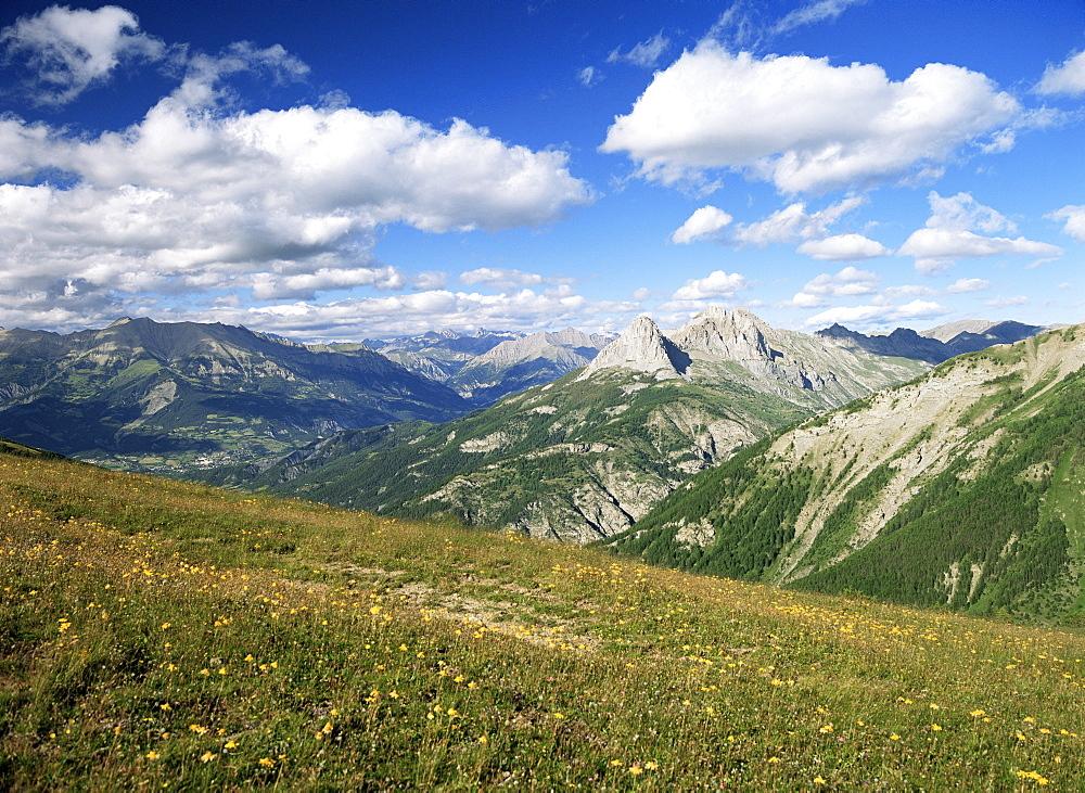View from Col d'Allos, Parc National du Mercantour, near Barcelonnette, Alpes-de-Haute-Provence, Provence, France, Europe