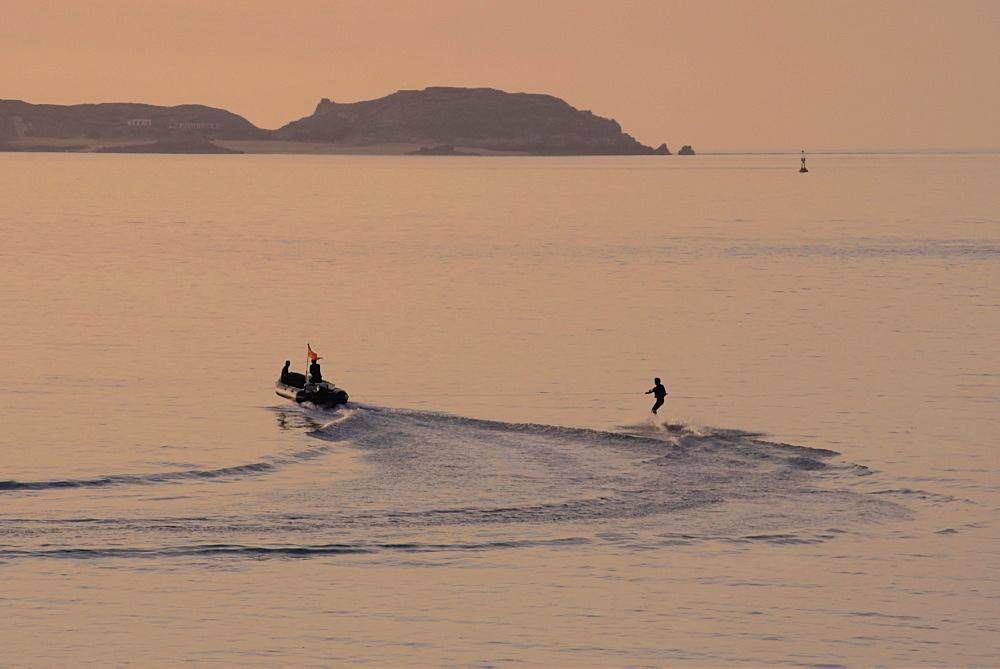 Water skier, Dinard Bay, Cote d'Emeraude (Emerald Coast), Cotes d'Armor, Brittany, France, Europe