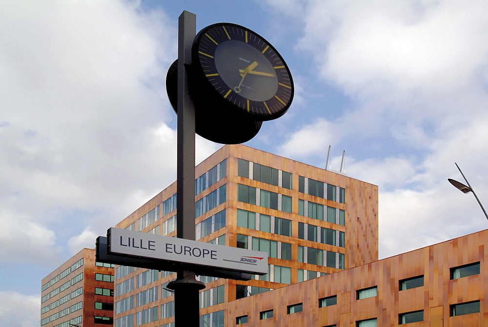 Modern office blocks outside Lille Europe station, Euralille, Lille, Nord, France, Europe