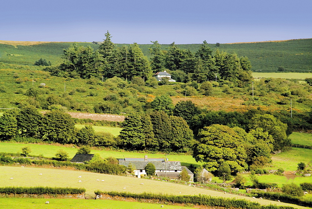 View from Widecombe village of countryside, Devon, England, United Kingdom, Europe