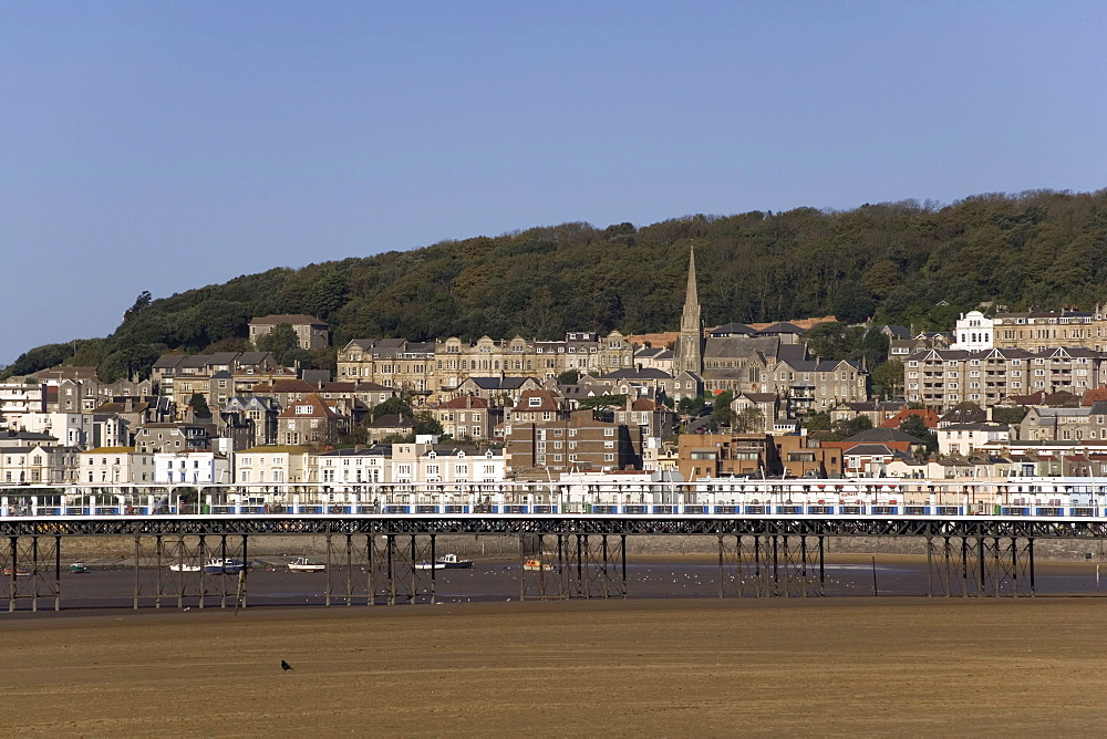 Pier and town of Weston super Mare, Somerset, England, United Kingdom, Europe