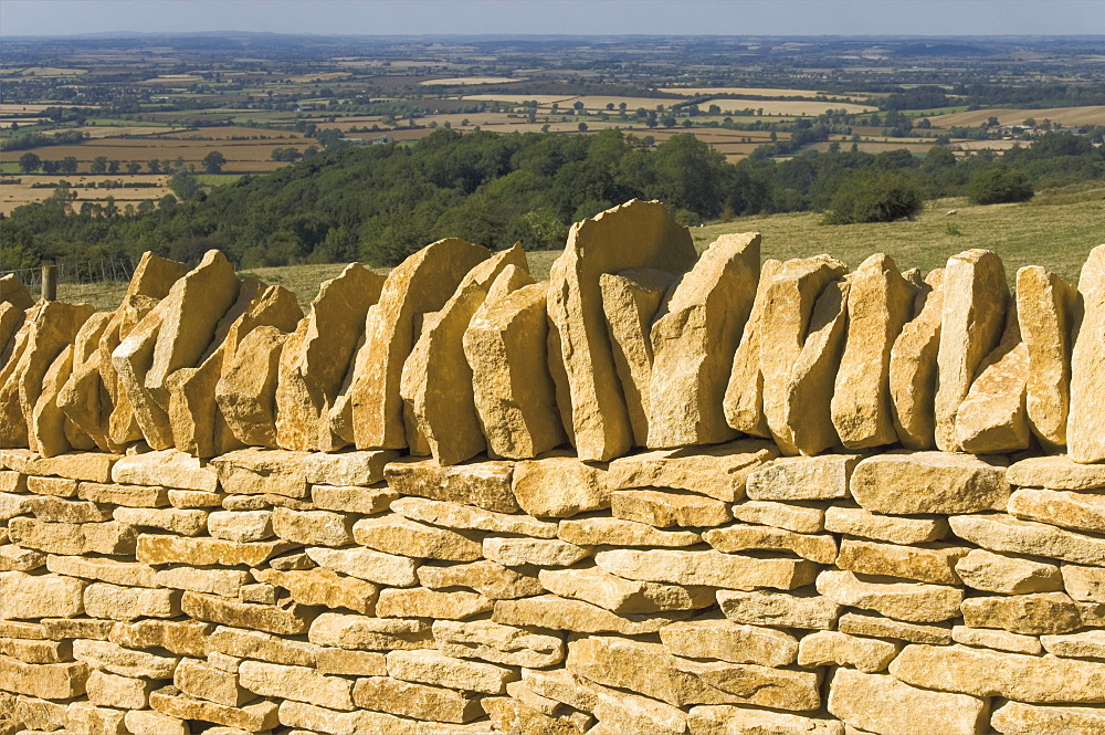 Dry stone wall, Dover Hill, Gloucestershire, Cotswolds, England, United Kingdom, Europe