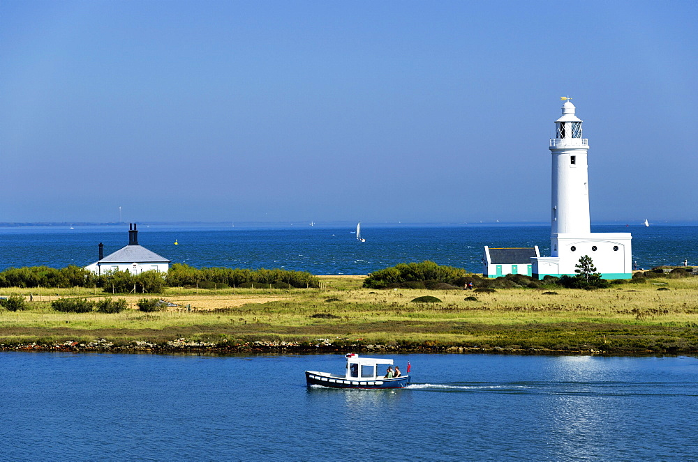 Lighthouse at Hurst Castle, Keyhaven, Hampshire, England, United Kingdom, Europe - 255-8966