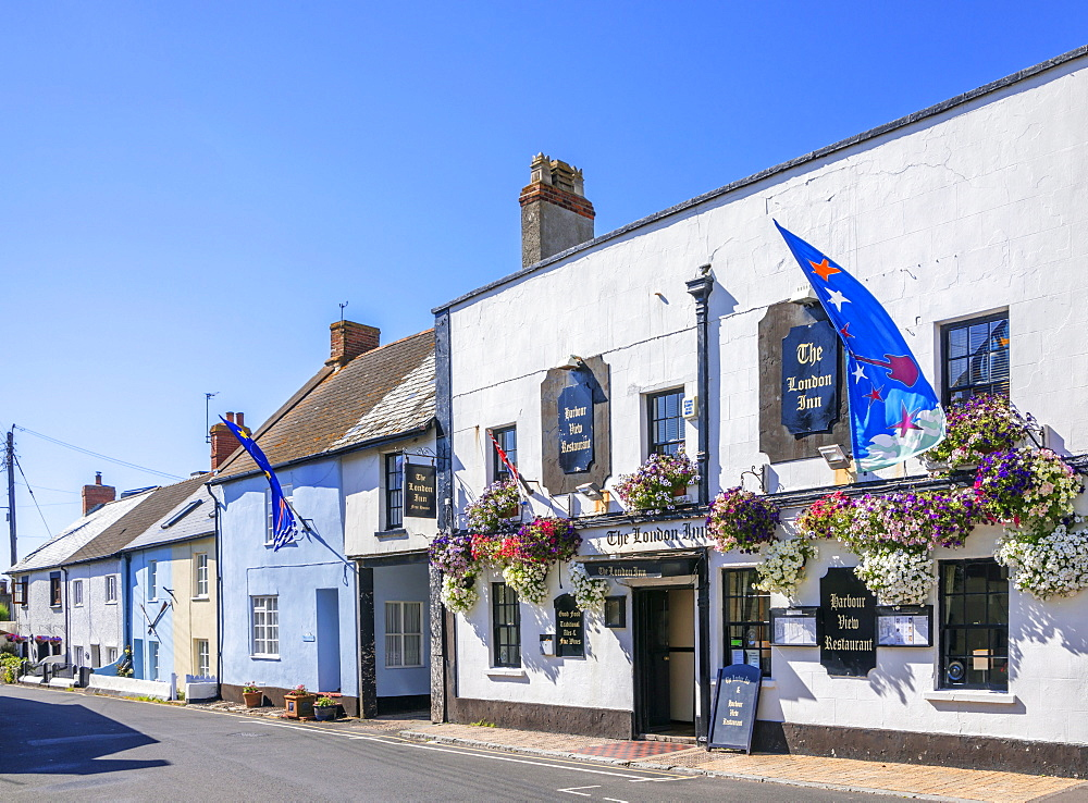 Pub and cottages, Watchet, Somerset, England, United Kingdom, Europe - 255-9022