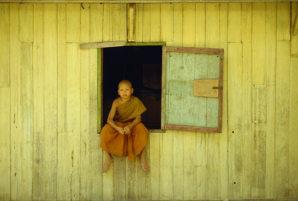 Portrait of a young monk at Wat Phawtpo in Chiang Mai, Thailand, Southeast Asia, Asia - 256-13