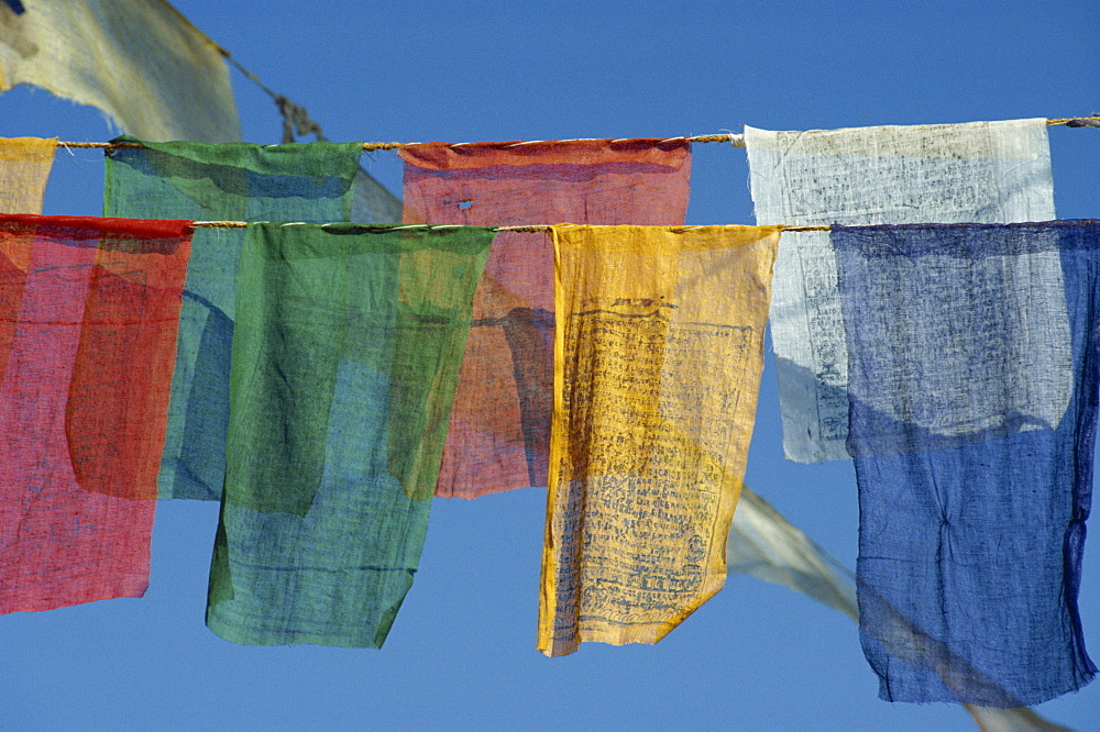 Close-up of prayer flags at Swayambunath, Kathmandu, Nepal, Asia