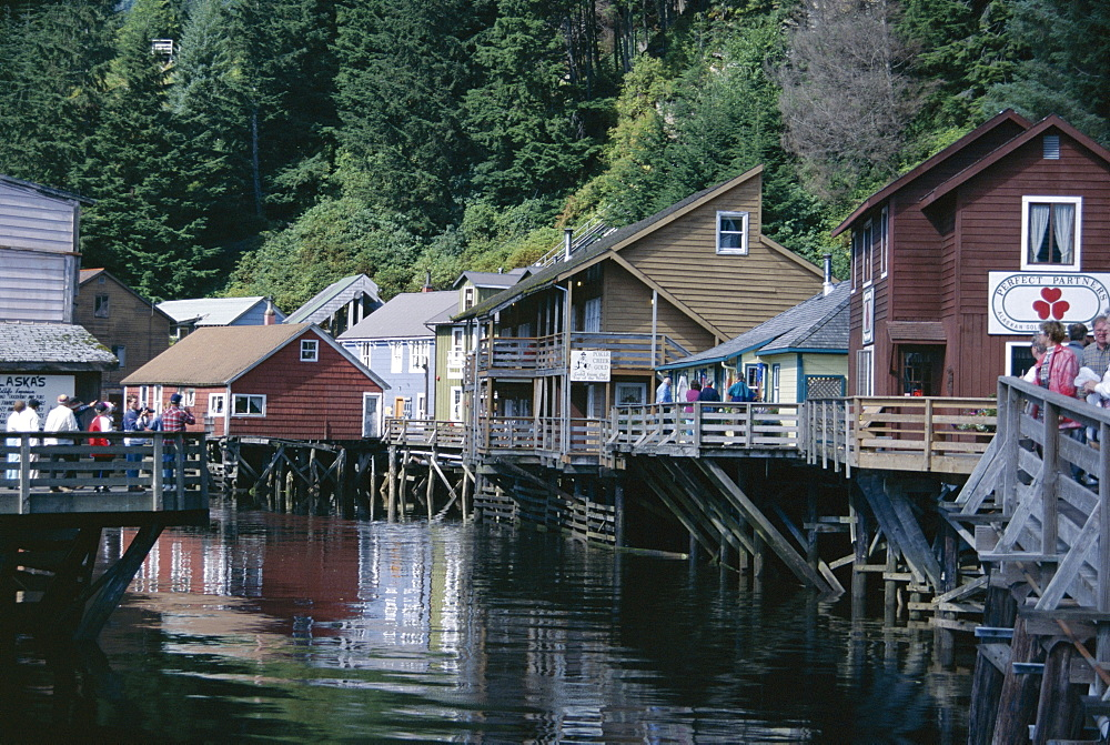 Old stilt buildings along Ketchikan Creek, Ketchikan, south east Alaska, United States of America (U.S.A.), North America