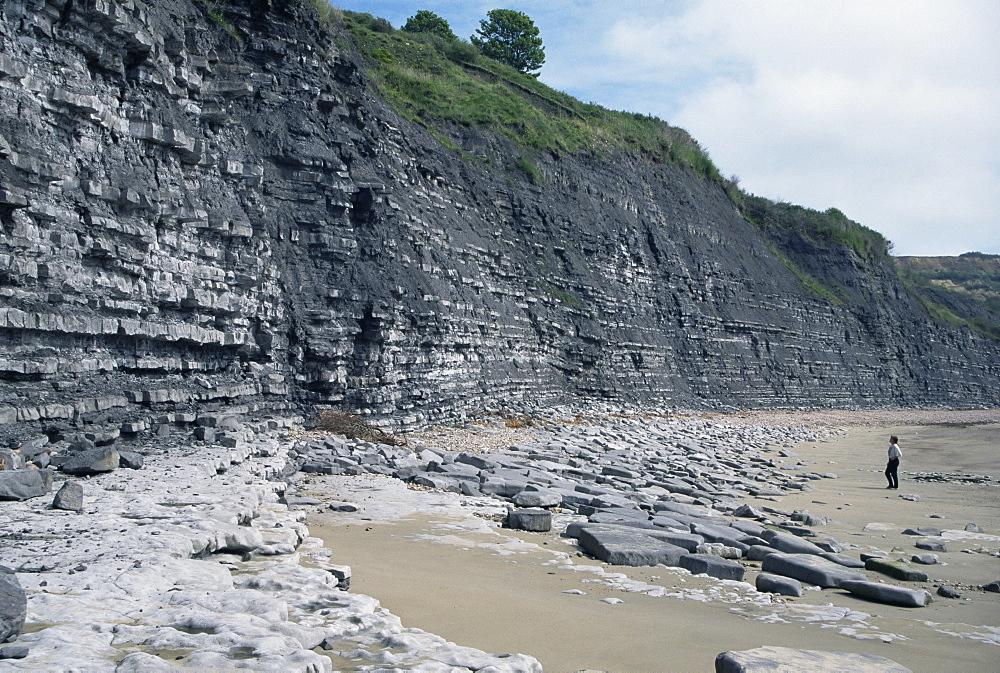 Sedimentary rocks, blue lias, shale-limestone sequences, Lyme Regis, Jurassic coast, UNESCO World Heritage Site, Dorset, England, United Kingdom, Europe