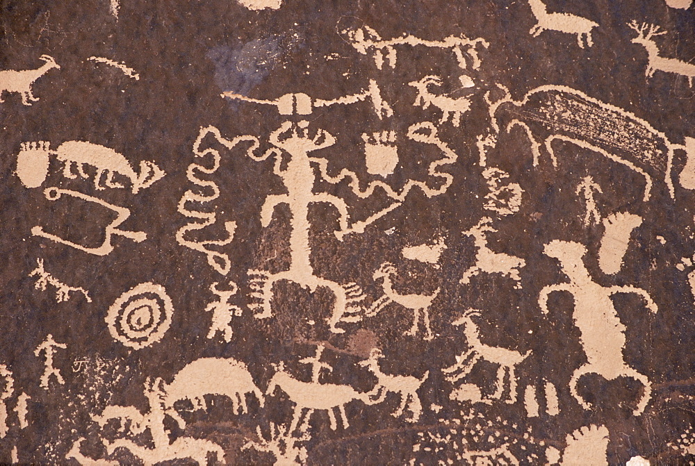 Indian petroglyphs drawn on red standstone by scratching away dark desert varnish of iron oxides, Newspaper Rock, Canyonlands, Utah, United States of America, North America