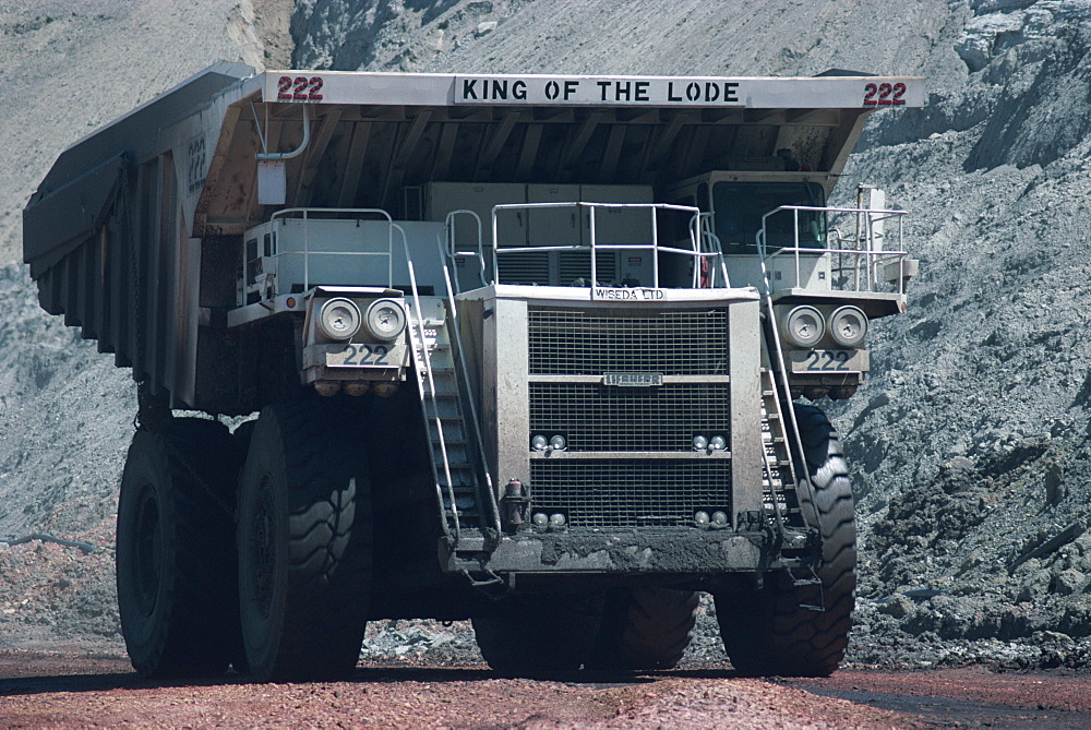 Giant truck hauling 240 tons of coal in the Black Thunder Opencast Coal Mine in the Powder River Basin, Wyoming, United States of America, North America