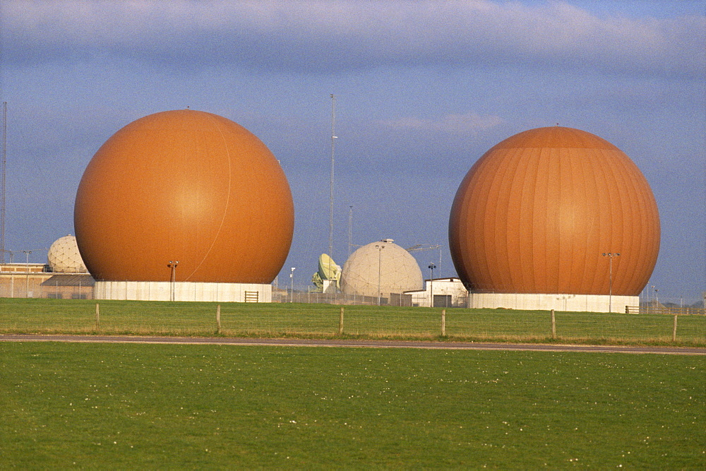 Geodesic domes over radar scanners, R.A.F. Croughton, Brackley, Buckinghamshire, England, United Kingdom, Europe