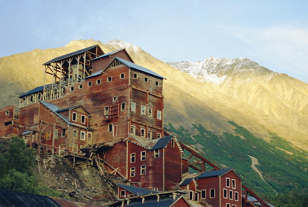 Old copper mine buildings, preserved national historic site, Kennecott, Wrangel Mountains, Alaska, USA, North America