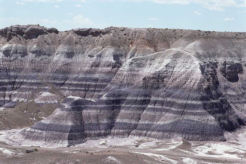 Sedimentary rocks, clay, colour banded by iron oxides, horizontal Triassic Chinle Clay, Blue Mesa, Painted Desert, Arizona, United States of America, North America