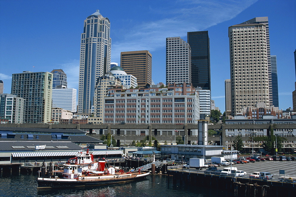 Downtown waterfront and ferry harbour, Seattle, Washington state, United States of America, North America