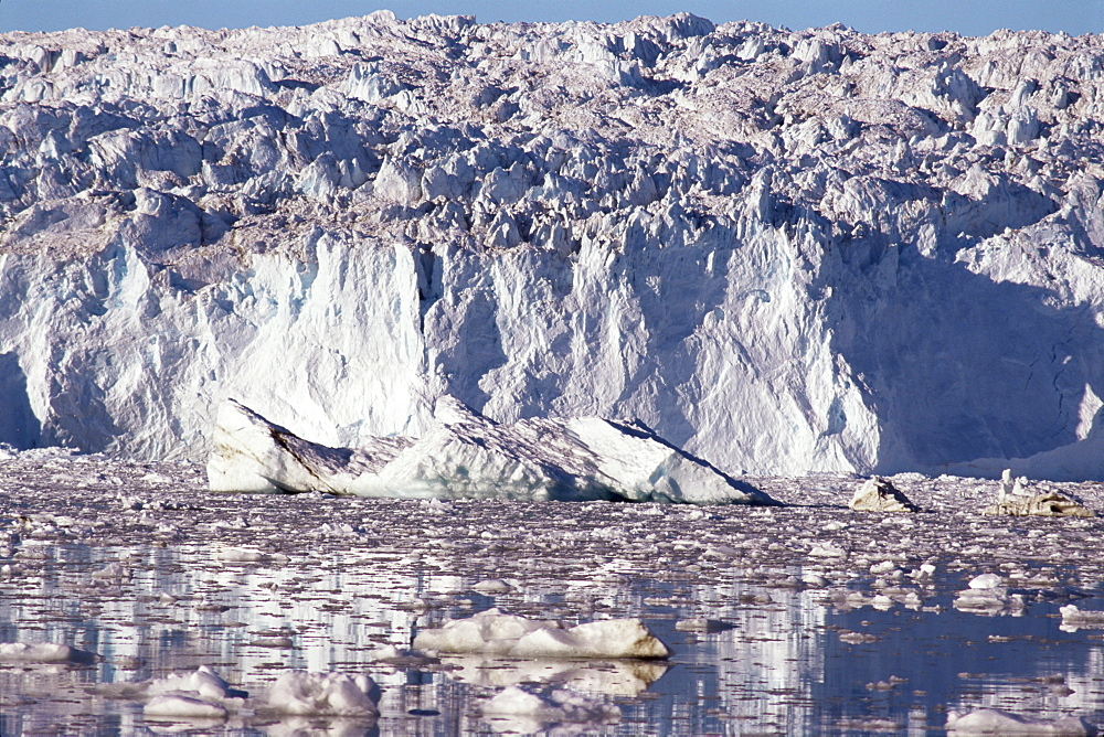 Eqip Glacier, major outlet from inland ice forming icebergs in arm of Disko Bay, west coast, Greenland, Polar Regions
