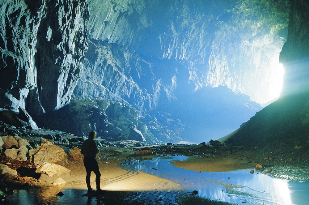 Deer Cave with show cave path, largest cave passage in the world, Gunung Mulu National Park, Sarawak, island of Borneo, Malaysia - 29-4156