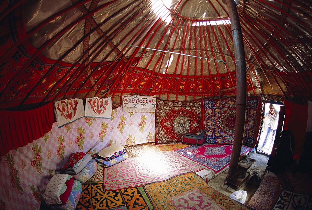 Inside Kazakhs yurt, Tianchi (Heaven Lake), Tien Shan, Xinjiang Province, China