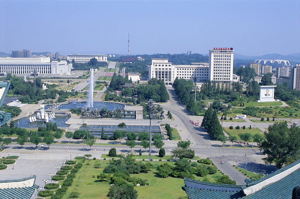 Formal gardens and park in planned city centre, Pyongyang, North Korea, Asia