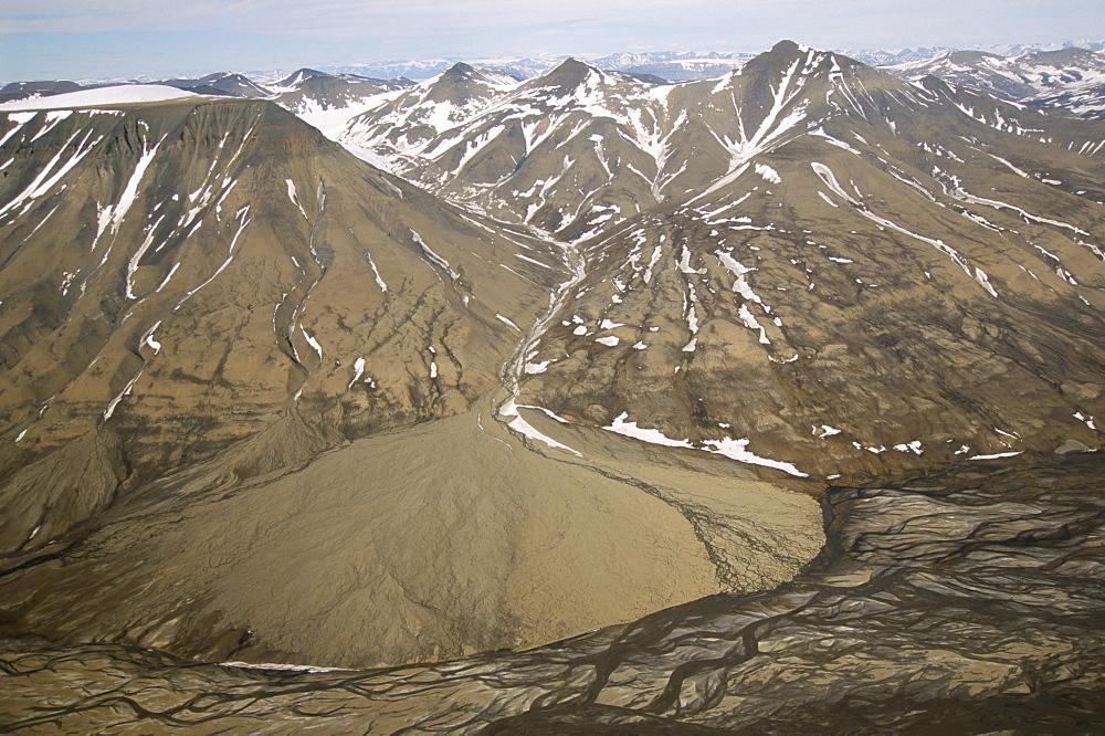 Alluvial fan, Adventdalen,Spitsbergen, Norway, Scandinavia, Europe