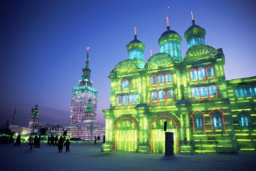 Ice buildings lit at night, Ice Lantern Festival, Bingdeng Jie, Harbin city, Heilongjiang, China, Asia - 29-4863