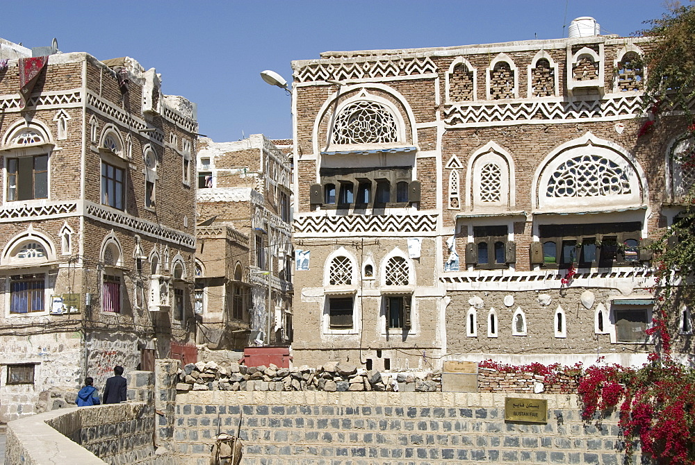Traditional ornamented brick architecture on houses, Old City, Sana'a, UNESCO World Heritage Site, capital of Yemen, Middle East