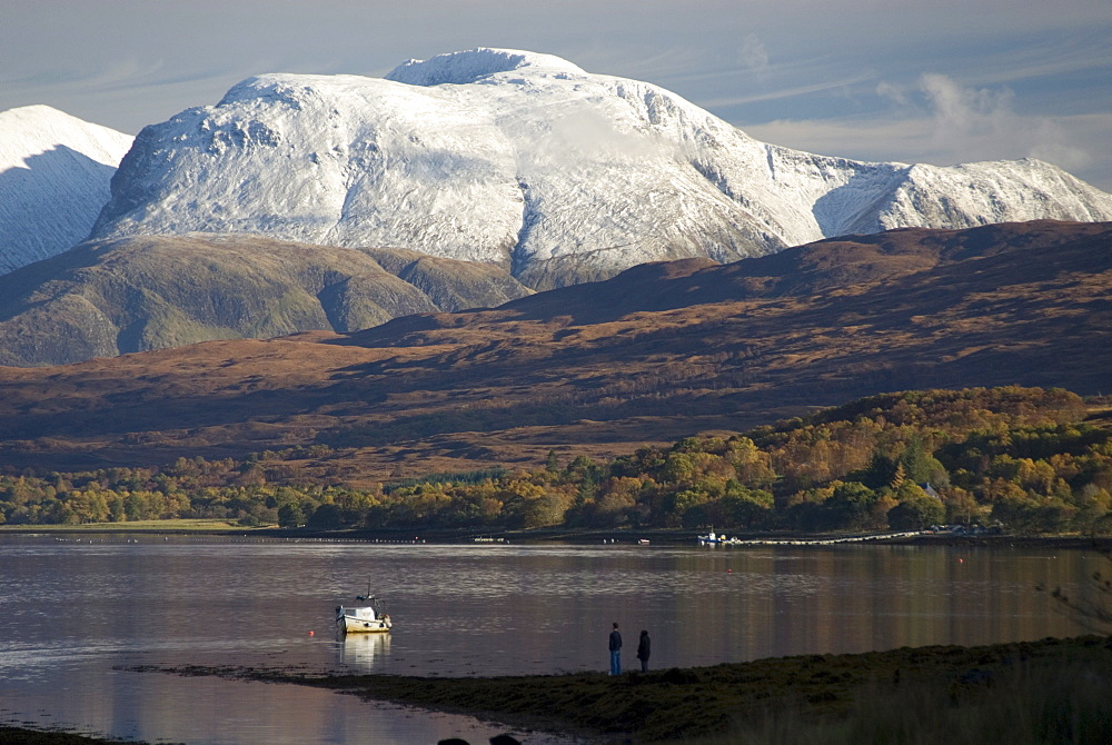 Ben Nevis range, seen from Loch Eil, Grampians, western Scotland, United Kingdom, Europe