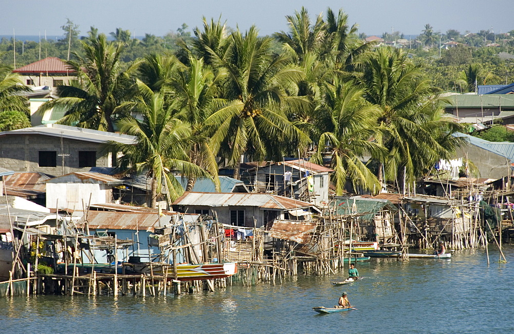 Fishermen's stilt houses in wetlands at south end of Lingayen Gulf, near Dagupan, northwest Luzon, Philippines, Southeast Asia, Asia