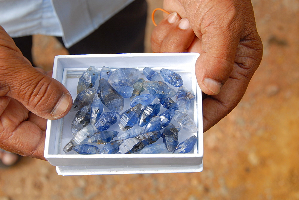 Uncut sapphires from local mines, Ratnapura morning gem market, southern Sri Lanka, Asia - 29-5094