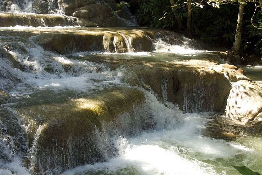 Terraces of calcite travertine forming the Dunn's River Falls, near Ocho Rios, north coast, Jamaica, West Indies, Caribbean, Central America