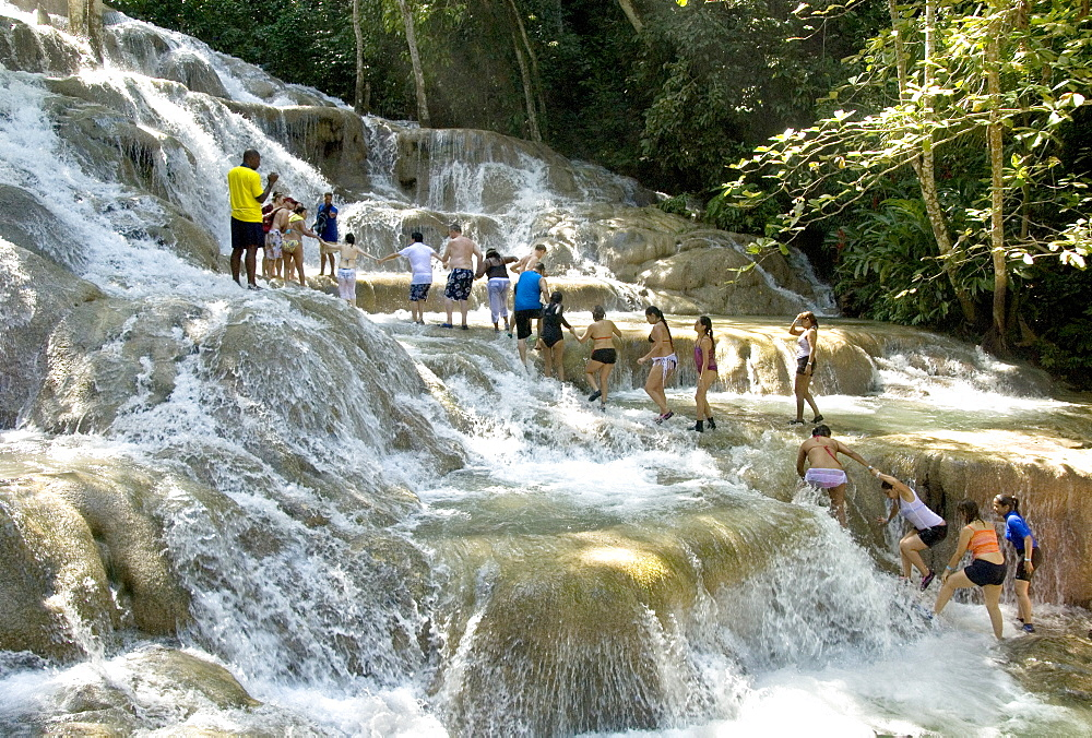 Terraces of calcite travertine forming the Dunn's River Falls, near Ocho Rios, on the north coast of Jamaica, West Indies, Caribbean, Central America