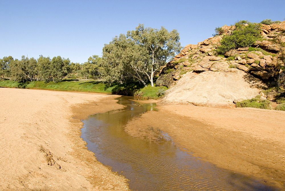 The surviving pool in the normally dry riverbed, thought to be a spring from bedrock so was named Alice Springs, in the town of the same name, Alice Springs, Northern Territory, Australia, Pacific