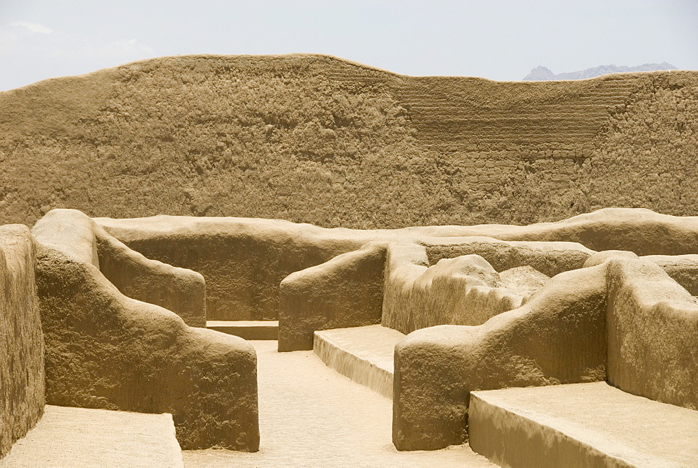 Restored ruins of Chan Chan, the Chimu capital of 1300AD, UNESCO World Heritage Site, near Trujillo, Peru, South America