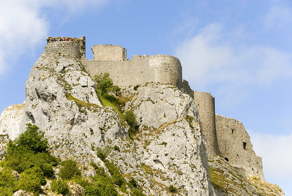 Chateau de Peyrepertuse, a Cathar castle, Languedoc, France, Europe
