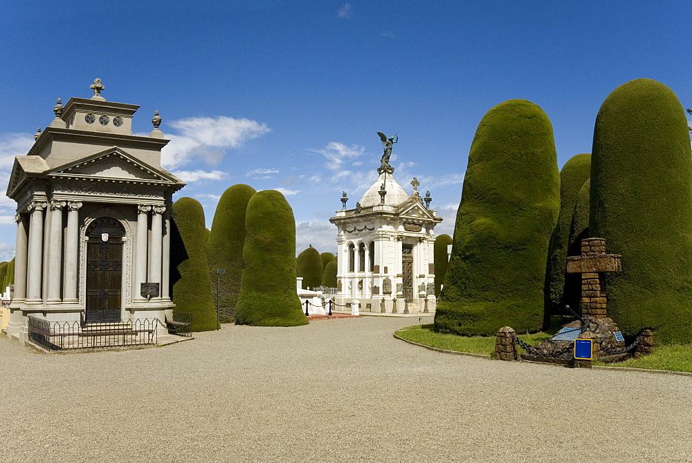 Cementario Municipal, topiary cypress trees, Punta Arenas, Patagonia, Chile, South America