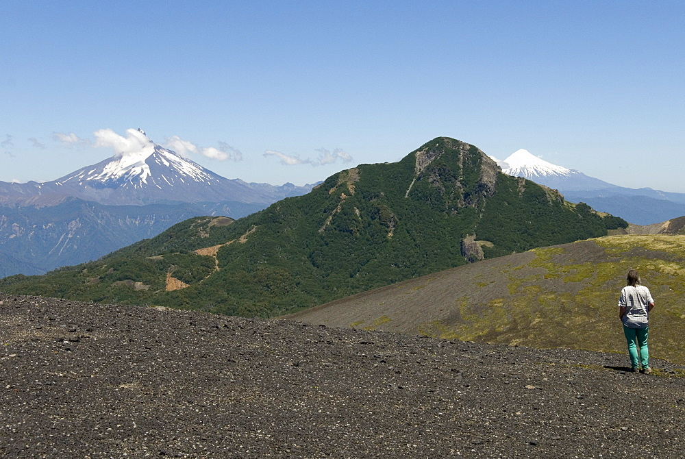 Cerro Puntiagudo and Volcan Osorno, seen from Volcan Casablanca, Antillanca, Puyehue National Park, Lakes District, southern Chile, South America