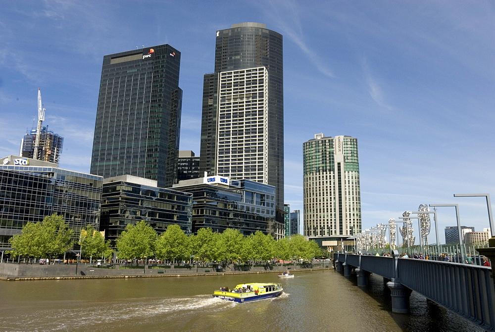 Yarra River and Sandridge Bridge, downtown Melbourne, Victoria, Australia, Pacific