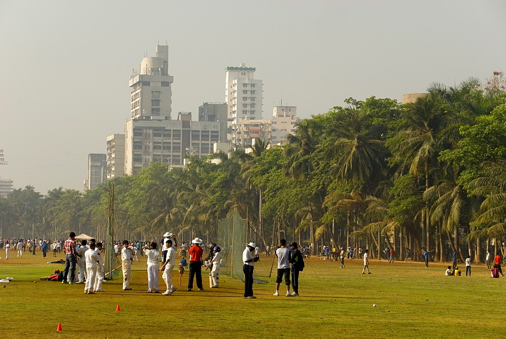 Cricket nets on the Oval Maidan green space, Mumbai, India, Asia