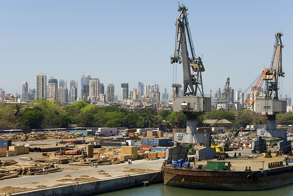 Main docks with the high-rises of the city centre beyond, Mumbai, India, Asia