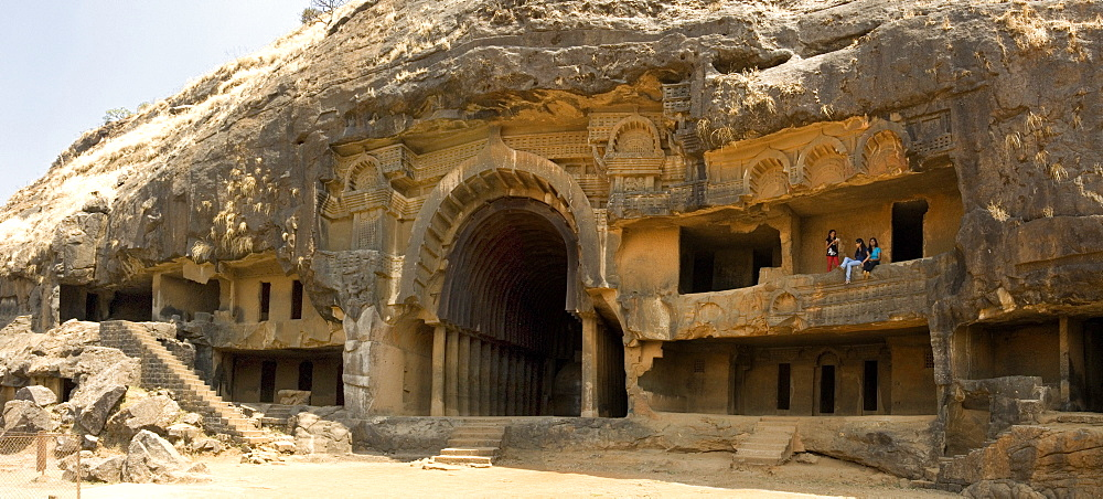 The main open chaitya (temple) in the Bhaja Caves, excavated in basalt, Lonavala, Western Ghats, Maharashtra, India, Asia  - 29-5325