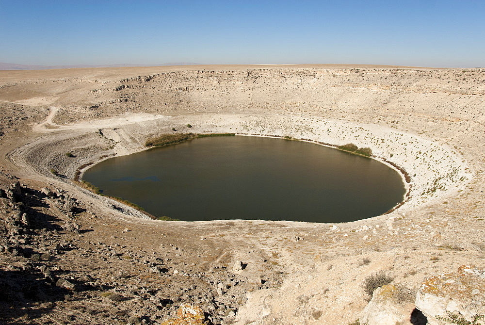 Meyil Obruk, 640m wide sinkhole lake, Esentepe, Obruk Plateau, Karapinar, Konya Basin, Anatolia, Turkey, Asia Minor, Eurasia