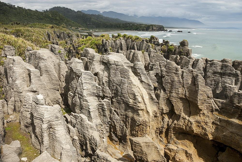 Thin-bedded Oligocene Cobden limestone, Punakaiki, Pancake Rocks, Greymouth, South Island, New Zealand, Pacific - 29-5376