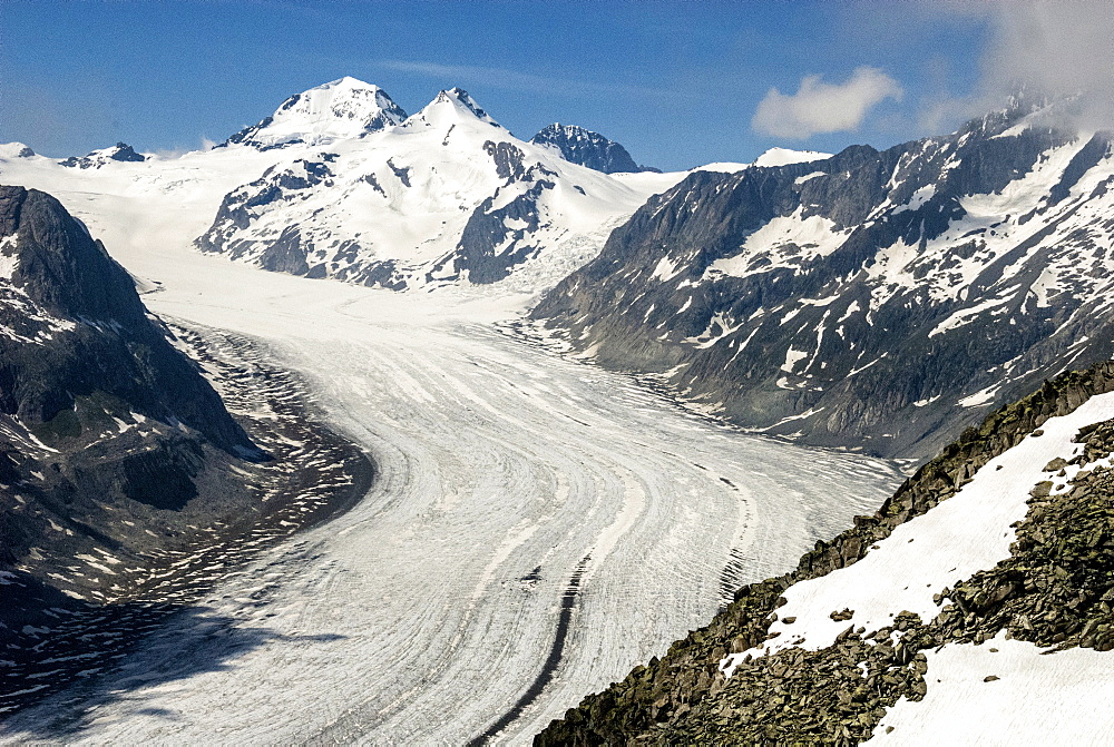 Aletsch Glacier and the Jungfrau, seen from Eggishorn, above Fiesch, Swiss Alps, Switzerland, Europe - 29-5395