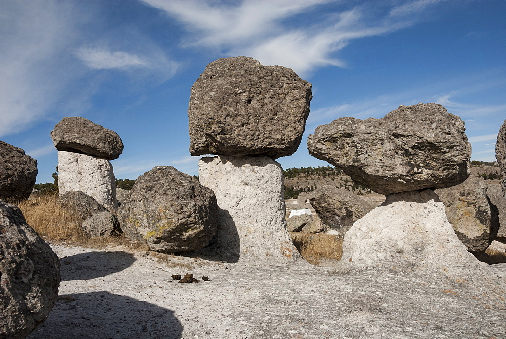 Valle de los Hongos (Mushroom Rocks) formed of volcanic ash, Creel, Chihuahua, Mexico, North America - 29-5415