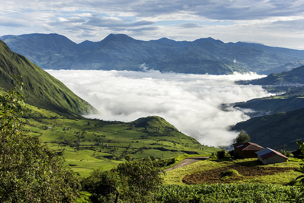 Valley filled with cloud in Andes central highlands, hiding the Nariz del Diablo railway below Chunchi, Ecuador, South America